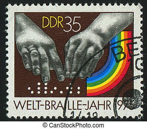 postmark - GERMANY- CIRCA 1975: stamp printed by Germany,...