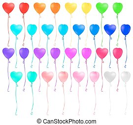 Set of heart shaped colorful balloons isolated on white background.