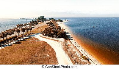 Aerial view of Sanibel Causeway, Florida