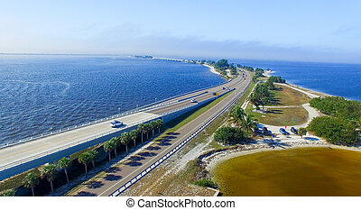 Aerial view of Sanibel Causeway, Florida.