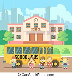 School building vector flat concept - School building, bus...