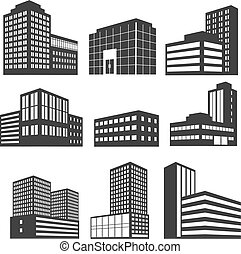 Modern business buildings black vector icons isolated on white