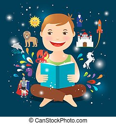 Cartoon kid reading fairy tale book