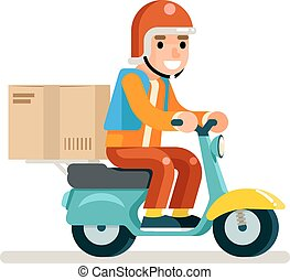 Delivery Courier Scooter Symbol Box Icon Concept Isolated Flat Design Vector Illustration