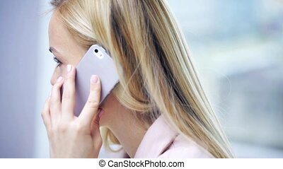 face smiling woman calling on smartphone - business, people,...