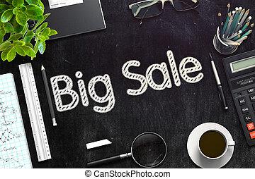 Big Sale Concept on Black Chalkboard. 3D Rendering.