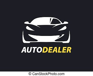 Concept auto dealer logo with supercar sports vehicle...