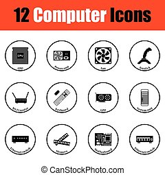 Set of computer icons Thin circle design Vector illustration...