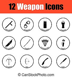 Set of twelve weapon icons