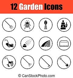 Set of gardening icons. Thin circle design. Vector...
