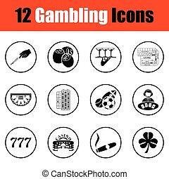 Gambling icon set.  Thin circle design. Vector illustration.