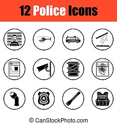Set of police icons. Thin circle design. Vector...
