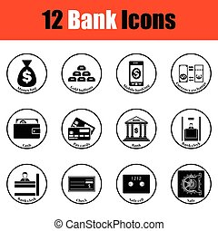 Set of bank icons.  Thin circle design. Vector illustration.