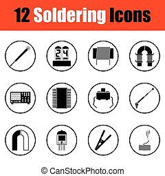 Set of soldering icons. Thin circle design. Vector...