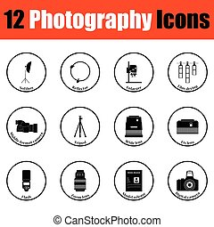 Photography icon set Thin circle design Vector illustration...