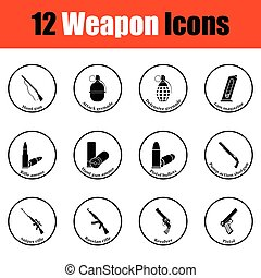 Set of twelve weapon icons. Thin circle design. Vector...