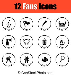 Set of soccer fans icons Thin circle design Vector...