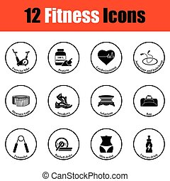 Fitness icon set.  Thin circle design. Vector illustration.