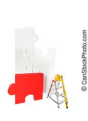 Solving problems concept assembling puzzle isolated on white...