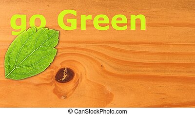go green concept with word on nature still life