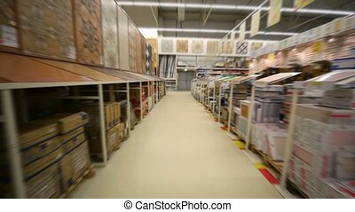 moving camera in building material store