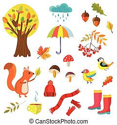 Autumn collection illustration with nature elements and...