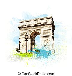 Arch of Triumph (Arc de Triomphe), Paris, France.