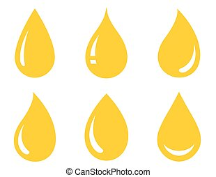 glossy oil drops set - glossy drops set icons on white...