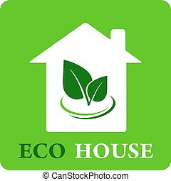 eco house icon - green eco house icon with leaf silhouette