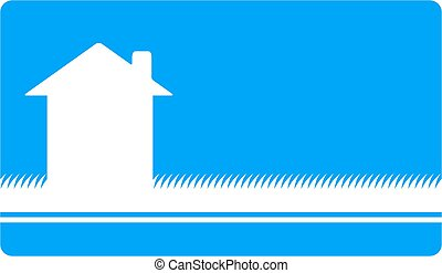 blue business card with house