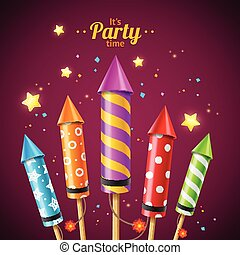 Party Rocket Fireworks Flyer Card. Vector