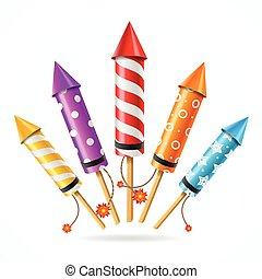 Fireworks Rocket Set. Vector - Fireworks Rocket Set of...