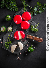 Red waxed gourmet cheeses
