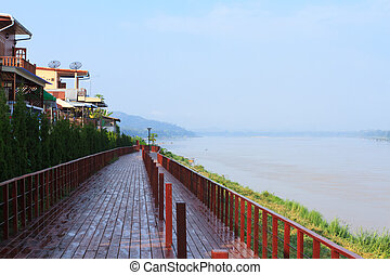 Chiang Khan Boardwalk - A boardwalk next to Mekong river in...