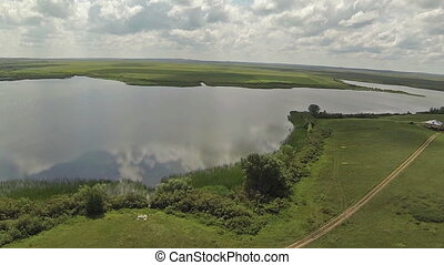 Aerial view lake in steppee - Aerial view of in the steppe...