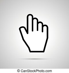 White computer cursor in hand shape, icon with shadow -...