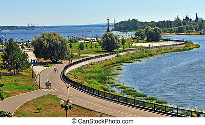 Summer view of Yaroslavl city park, Russia