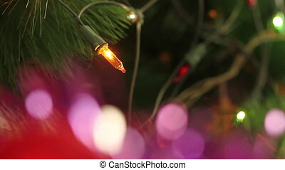 flashing garland decorated Christmas tree HD