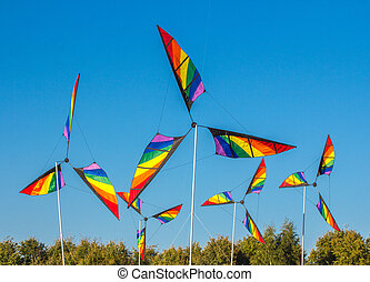 pinwheel windmill with 3 differently colored vanes - Front...