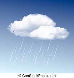 Raincloud and rain in the blue sky - Weather icon -...
