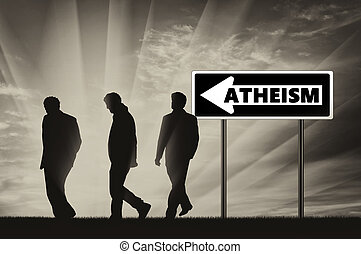 Atheism Atheists Three men walking towards atheism, near the...