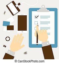 Checklist hand - Checklist clipboard with hand Flat design...