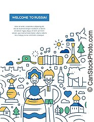 Welcome to Russia - line design brochure poster template A4...