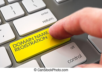 Hand Finger Press Domain Name Registration Button.