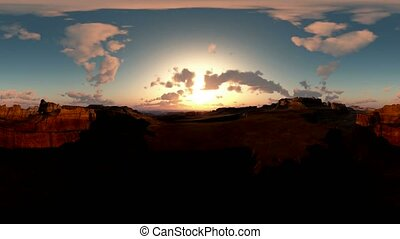 panoramic of canyon timelapse at sunset. made with the one...