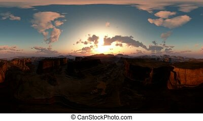 panoramic of canyon timelapse at sunset made with the one...