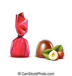 Set of Chocolate Candies with Hazelnuts in Foil - Vector Set...