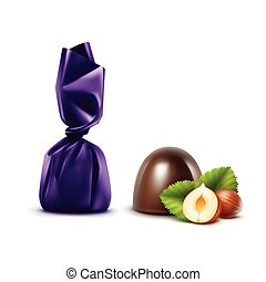 Dark Chocolate Candies with Hazelnuts in Foil - Vector Set...