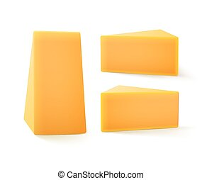 Set of Triangular Pieces Cheddar Cheese - Vector Set of...