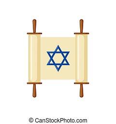Torah scroll icon in flat style. - Torah scroll icon in flat...